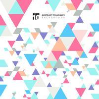 Abstrakta moderna färgglada trianglar mönsterelement på vit bakgrund med kopia utrymme.