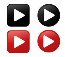 Spela ikon 3D Svart och Röd knapp Samling. vektor