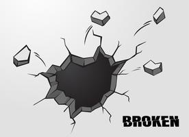 Penetrerande hål eller sprickade cementväggytor. vektor