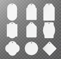 Mockup Product Papieretikett für Logo-Produkt Separate Teile auf einem transparenten Hintergrund