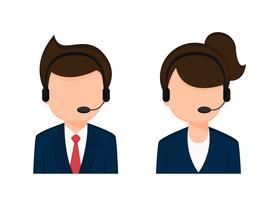 Operator Mitarbeiter männliche und weibliche Zeichentrickfiguren.