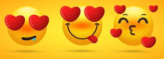 Die Emoji-Kollektion, die Emotionen zeigt, verliebt sich, ist besessen vektor