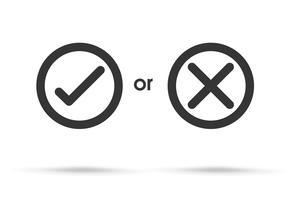 Richtige und falsche Symbole werden zur Bewertung abgelehnt. Vektor Einfacher und moderner Stil.