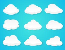 Plana vektor moln Dekorerad separat från bakgrunden