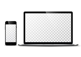 Elektronisches Vektormodell Moderne Technologie, Smartphones, Tablets, Computer und Notebooks vektor