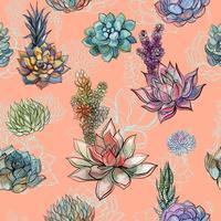 Sömlöst mönster med succulenter. Grafik. Vattenfärg. Vektor