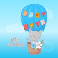 Tecknad söt katt och fågel flyger på ballong
