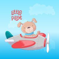 Flugzeug mit einem süßen Hund. Vektor-illustration