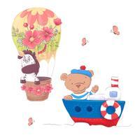 Nette Karikaturtiere transportieren Fahrzeugschiff und -ballon. Vektor