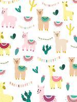 Lama und Kaktus Clipart Bundle, kein Drama Lamas Graphics Set.