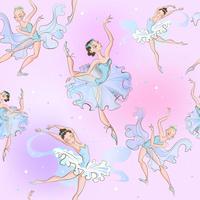 Ballerinas. Sömlöst mönster. Lilla prinsessan. Vektor illustration.