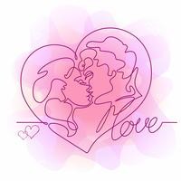Kontinuerlig linje ritning - ett par kyssar. Kärleksfull man och kvinna. Hjärta. Kärlek. Alla hjärtans kort. Vektor.