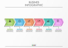 Geschäftsdatenvisualisierung Infographic Ikonen der Pfeilzeitachse bestimmt für abstrakte Hintergrundschablone.