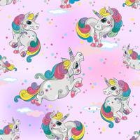 Sömlöst mönster med magiska enhörningar. Rosa himmel bakgrund med stjärnor. För tjejer. Vektor.