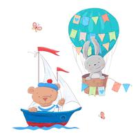 Söt tecknade djur transportfordon skepp och ballong. Vektor