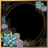 Ramen är rund. Guldram med saftiga blommor. Vattenfärg. Grafik