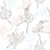 Ballerinas. Sömlöst mönster. Lilla prinsessan. Dansa. Vektor illustration.