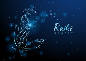 Die Reiki-Energie. Das Mädchen mit dem Energiefluss. Meditation. Alternative Medizin. Esoterisch. Vektor
