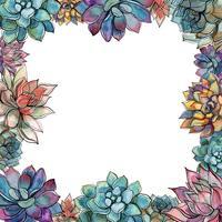 Saftiger Rahmen. Zusammensetzung der Blumen. Postkarte für Ihren Text. Vektor.