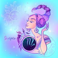 Zodiac sign Skorpionen en vacker tjej. Horoskop. Astrologi. Vektor.
