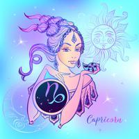 Stjärntecken Stenbock en vacker tjej. Horoskop. Astrologi. Vektor.