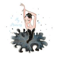 Kleine Ballerina. Junge prinzessin Mädchen in einem Ballettröckchen. Meine Prinzessin. Inschrift. Vektor.