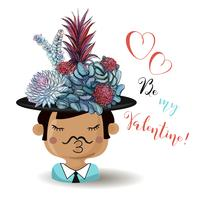 Fröhlichen Valentinstag. Junge mit Blumensucculents. Aquarell. Vektor.