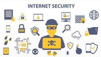 Internet Security Doodle-Konzept von Online-Daten und Computer-Netzwerk-Schutzlösungen Cyber. vektor