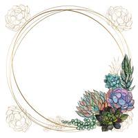 Runda guldram med succulenter. Vektor. Vattenfärg. Grafik