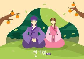 Glad Chuseok Par Karaktär Vektor Illustration