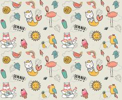 söt klotter sommar samlingsmönster sömlös platt vektor illustration