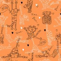 Ein Spaß nahtlose Muster mit niedlichen Katzen auf einem orangefarbenen Hintergrund vektor