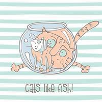 Gullig katt med akvarium och fisk. Vektor illustration.
