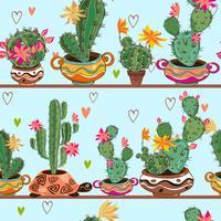 Sömlöst mönster. Tecknade kaktusar i krukor finns på hyllorna. Vektor.