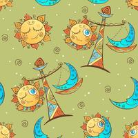 Sonne Mond Waage. Nahtloses Muster des Spaßes der Kinder. Vektor.