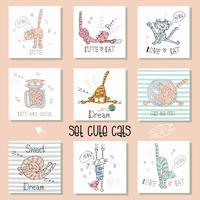 Sats av roliga katter i en söt stil. Vektor illustration.