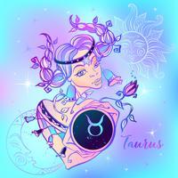 Zodiac tecken Taurus en vacker tjej. Horoskop. Astrologi. Vektor
