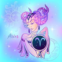 Sternzeichen Widder ein schönes Mädchen. Horoskop. Astrologie. Vektor.