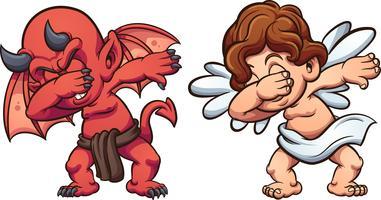 Engel und Teufel tupfen vektor