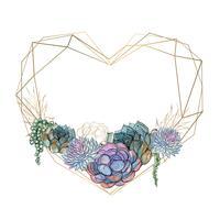 Guld hjärtram med succulenter. Valentine. Watercolor.Graphics. Vektor.
