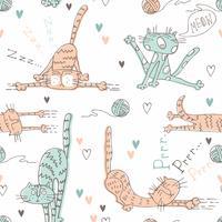 Mönster för barn med söta katter. Vektor.