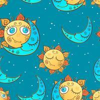 Seamless mönster med sol och måne för barn. Vektor.