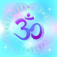 AUM Om Ohm-symbolen. Ett andligt tecken. Esoterikern. Vektor illustration.