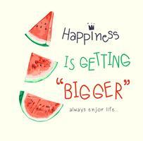 Slogan mit Wassermelonenillustration