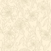 Sömlöst mönster. liljor på en vaniljbakgrund. Vektor