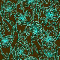 Nahtloses Muster. Türkislilien auf einem braunen Hintergrund. Grafik. Vektor.