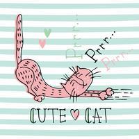 Rolig hemkatt i en söt Doodle stil. Kattens rensning. Text. Gullig illustration för barn på randig bakgrund. Vektor