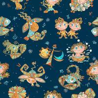 Sömlöst mönster med stjärntecken för barn. Vektor. zodiakirklar.