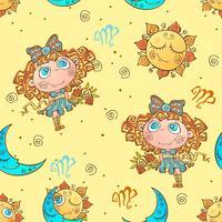 Ett roligt sömlöst mönster för barn. Zodiac Sign Virgo. Vektor.