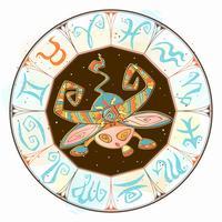 Zodiac för barn. Oxen. Gullig stil. Vektor.